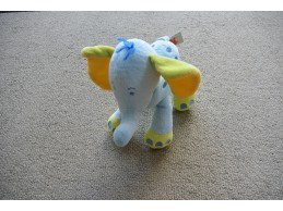 Nicotoy knuffel olifant blauw groen geel knisper