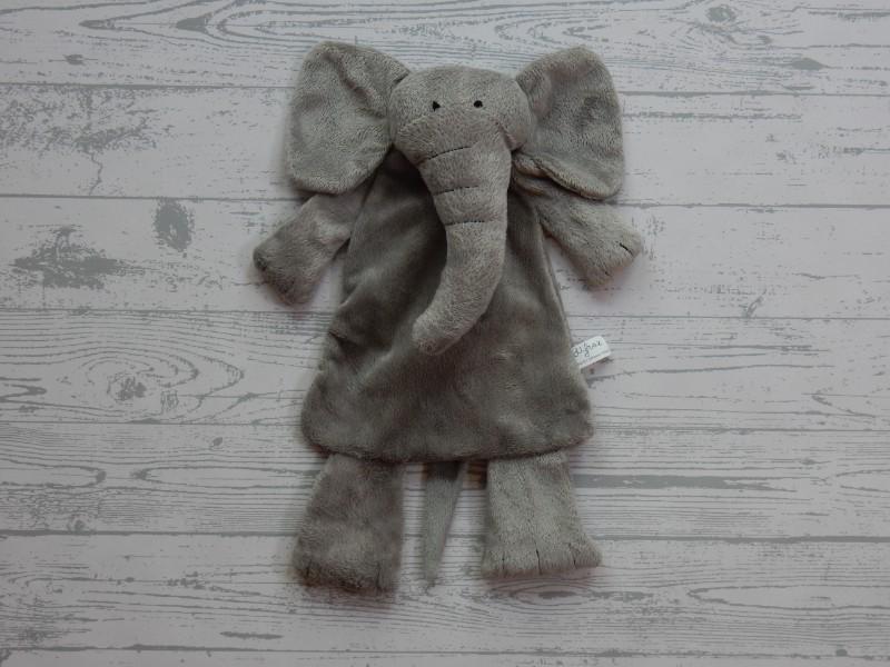 Difrax platte knuffel knuffellap velours grijs Olifant Elliot