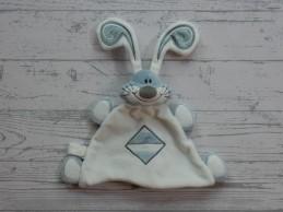 Prenatal knuffeldoek tuttel velours wit blauw zilver streep konijn