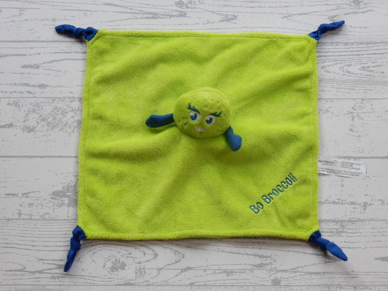 Nutricia knuffeldoek velours groen blauw Bo Broccoli