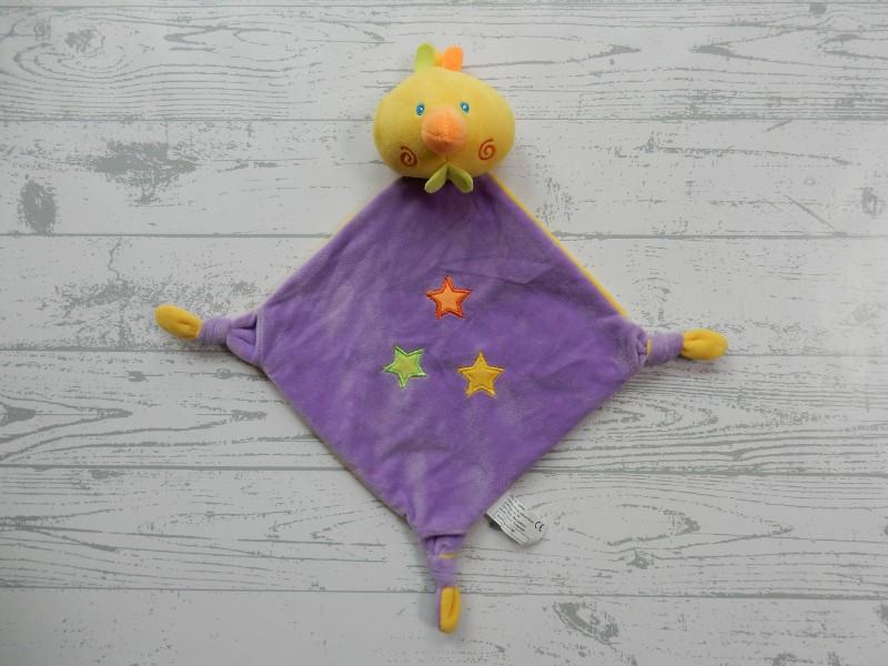 Tollkühn knuffeldoek velours paars geel sterren eend