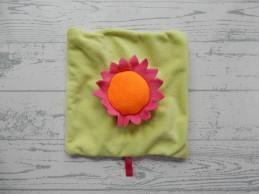 Dela knuffeldoek velours knisper lichtgroen roze oranje bloem