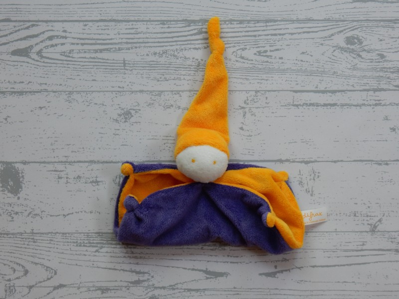 Difrax knuffeldoek softdoek small okergeel paars