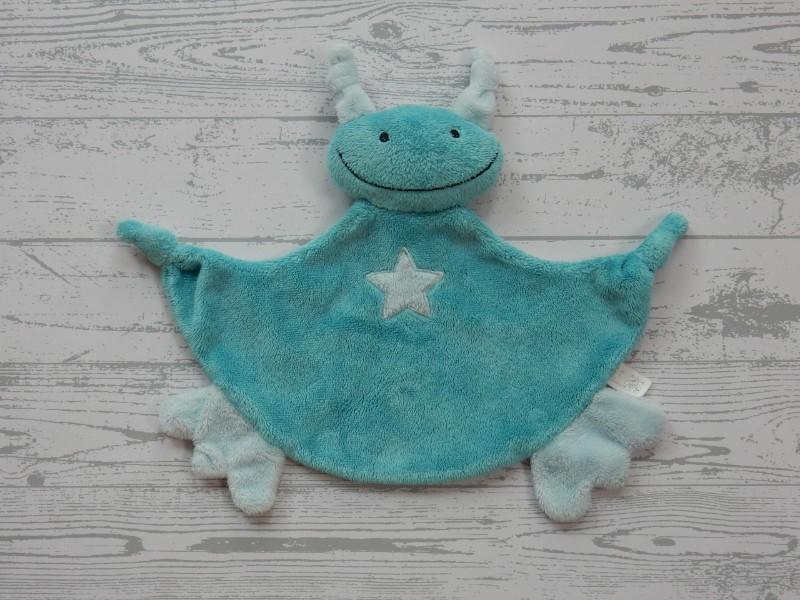 Difrax knuffeldoek velours blauw turquoise spook