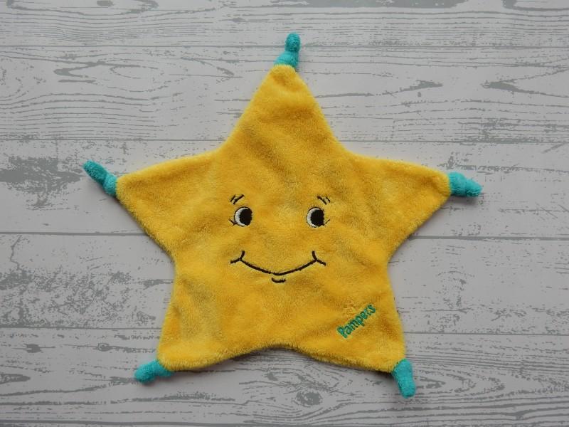 Pampers knuffeldoek velours geel groen ster