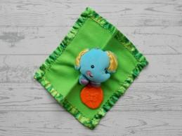 Fisher Price knuffeldoek velours groen blauw bijstuk Olifantje