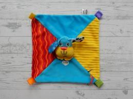 Tomy Lamaze knuffeldoek velours blauw geel rood hond Puppy