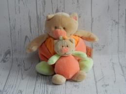 Doukidou knuffel velours oranje groen beige bruin Poes met kleintje