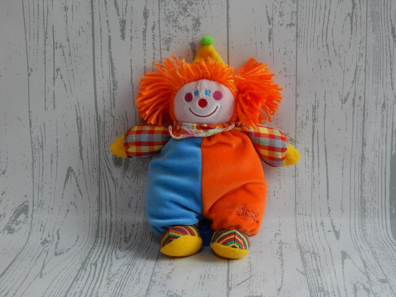Tiamo Collection knuffel rammelaar velours blauw oranje Clown