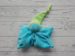 Difrax knuffeldoek softdoek tutpopje aquablauw limegroen