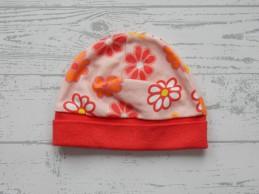 Hema newborn mutsje roze rood bloemen 1 maat