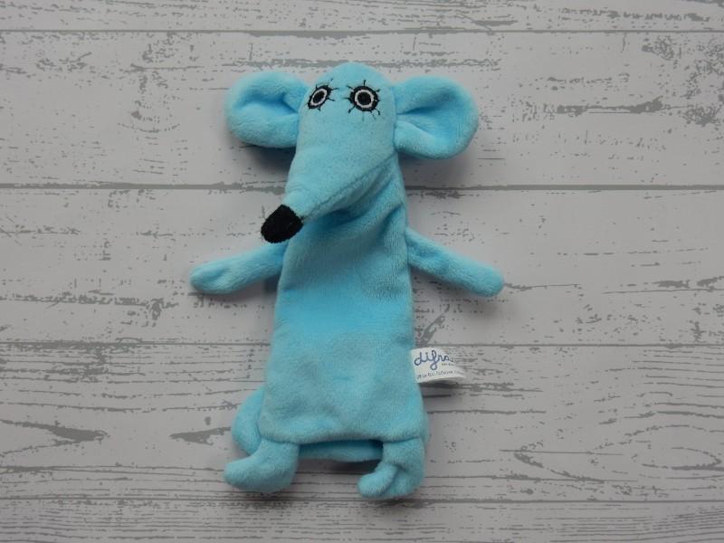 Difrax knuffelvriendje velours blauw Fopmuis