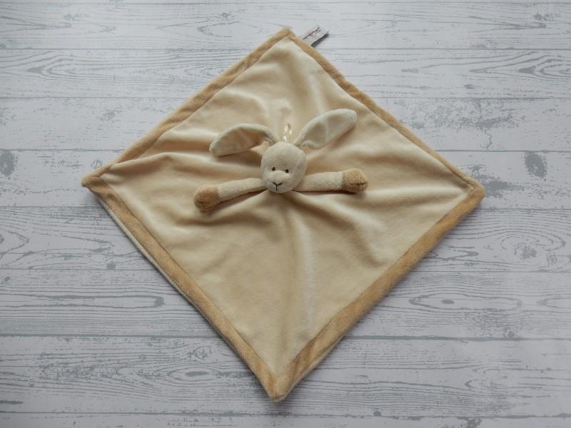 Teddykompaniet Bastad knuffeldoek velours beige bruin Konijn