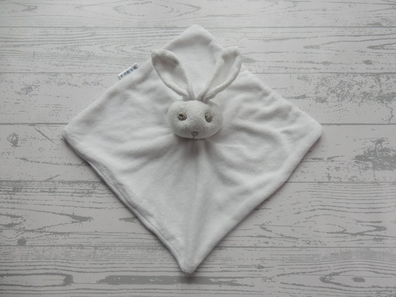 Bambino knuffeldoek velours wit grijs konijn
