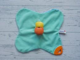 Prenatal knuffeldoek tuttel velours mintgroen blauw wit stippen Eend