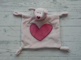 Prenatal knuffeldoek tuttel lichtroze roze hart Hond