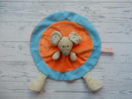 Tiamo Collection knuffeldoek velours rond oranje blauw Muis
