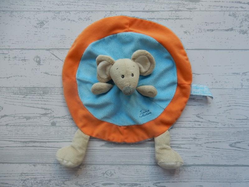 Tiamo Collection knuffeldoek velours rond blauw oranje Muis