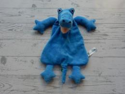 Natalis Zorg en Zekerheid knuffeldoek velours blauw krokodil draak