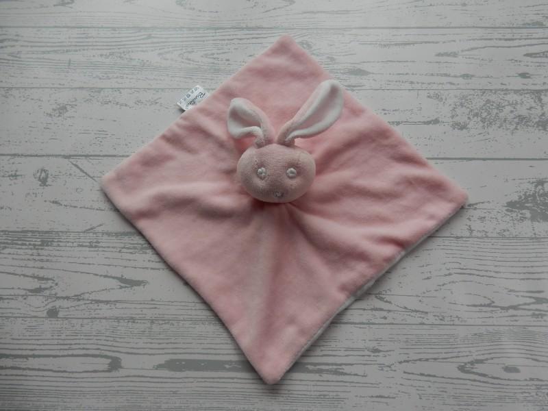 Bambino knuffeldoek velours lichtroze roze wit konijn