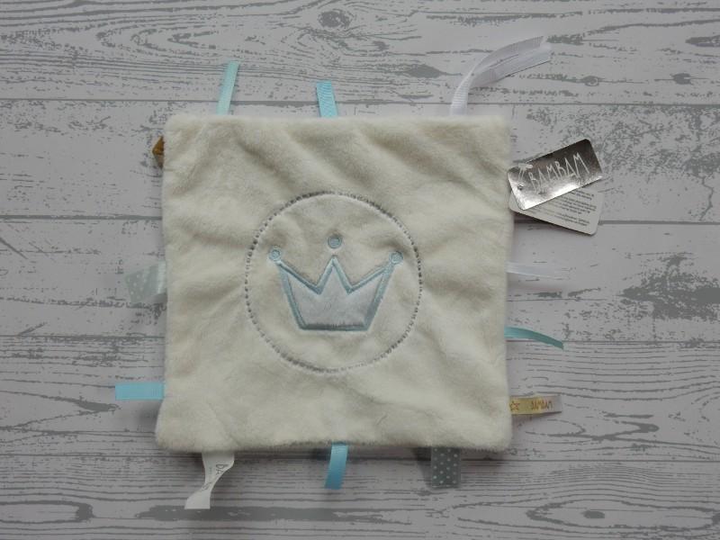 BamBam knuffeldoek speendoek velours ivoor lichtblauw Kroon Nieuw!