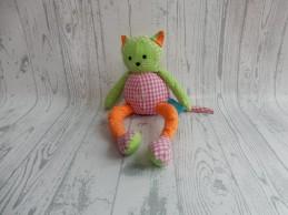 Lief! Lifestyle knuffel katoen groen roze oranje geruit Poes