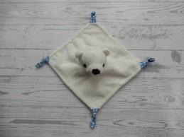 Nutricia knuffeldoek velours wit blauw geruit ijsbeer