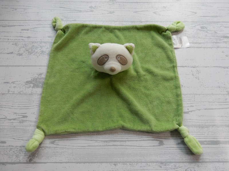 Florett Textil knuffeldoek Nicki schnuffeltuch ecru groen wasbeer