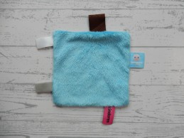 Snoozebaby knuffeldoek labeldoek velours blauw Jij & je Kinderen
