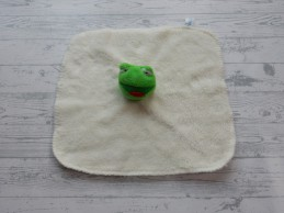 Natalis knuffeldoek velours teddy ecru groen Kikker