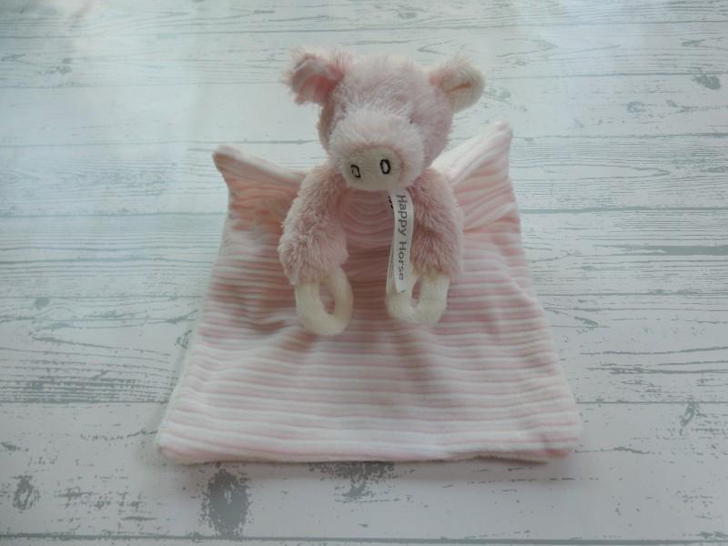 Happy Horse knuffeldoek velours wit roze varken Pimmy