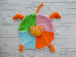 Baby Basics knuffeldoek velours blauw groen oranje roze Poes