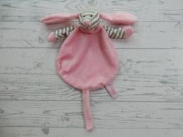Funnies knuffeldoek knuffellap velours roze grijs gestreept Hond