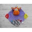 Playgro knuffeldoek velours satijn bijtstukken paars oranje Koe