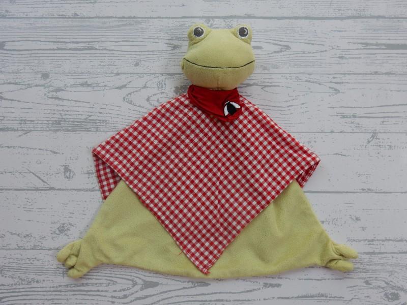 Ikea knuffeldoek velours lichtgroen rood geruit kikker Fabler Groda