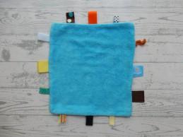 Snoozebaby knuffeldoek labeldoek blauw groen Rabobank