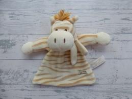 Tiamo knuffeldoek velours beige bruin gestreept zebra