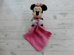 Nicotoy knuffeldoek velours zwart roze glow in the dark Minnie Mouse