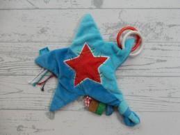 Lief! Lifestyle knuffeldoek velours blauw rood knisper ster