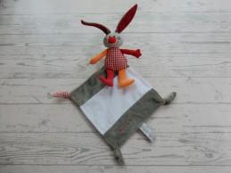 Bambino knuffeldoek velours grijs rood oranje konijn Bets Bunny