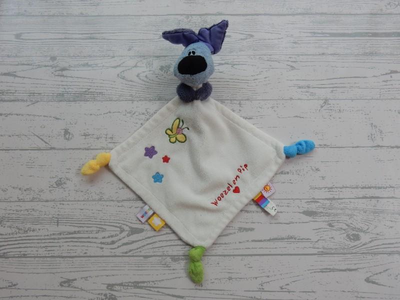 Woezel en Pip knuffeldoek velours wit sterren vlinder Woezel 2013