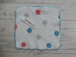 Lodger knuffeldoek speendoekje wit blauw rood grijs stippen