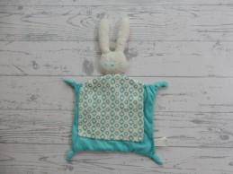 Difrax knuffeldoek velours wit blauw konijn