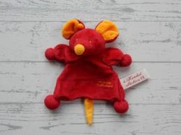 Tiamo De Kandeel knuffeldoekje velours rood oranje Muis