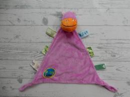 Evora Play in Kids knuffeldoek velours paars lila nijlpaard Hippo
