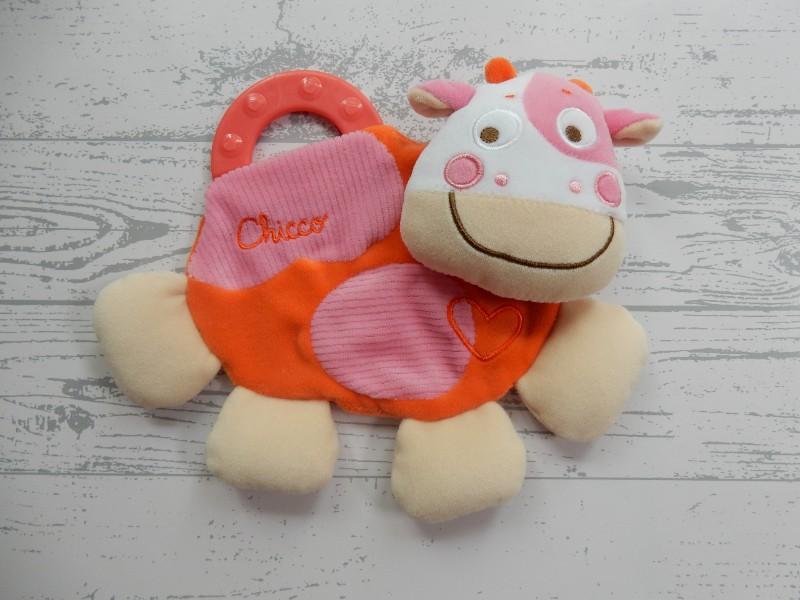 Chicco knuffeldoek velours roze oranje beige bijtring Koe