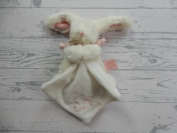 Doudou et Compagnie knuffeldoek velours wit roze Konijn Lapin bonbon