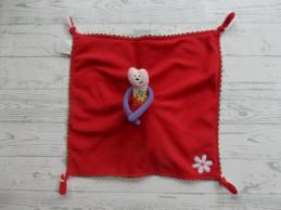 Mama's & Papa's knuffeldoek velours fleece roze rood poes Tuli