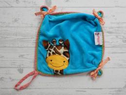Piggy's knuffeldoek velours blauw oranje Giraffe