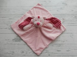 Tiamo knuffeldoek velours roze wafel oren konijn Basic Bunny